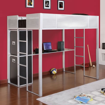 Beau Powell Rock And Roll Full Size Metal Loft Bed With Desk