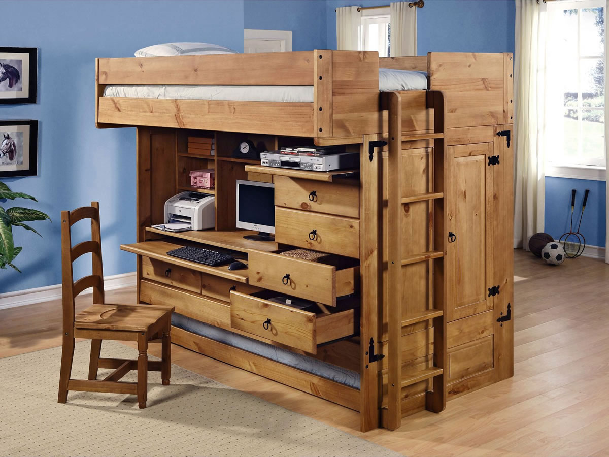 Full Loft Bed with Storage 1200 x 900
