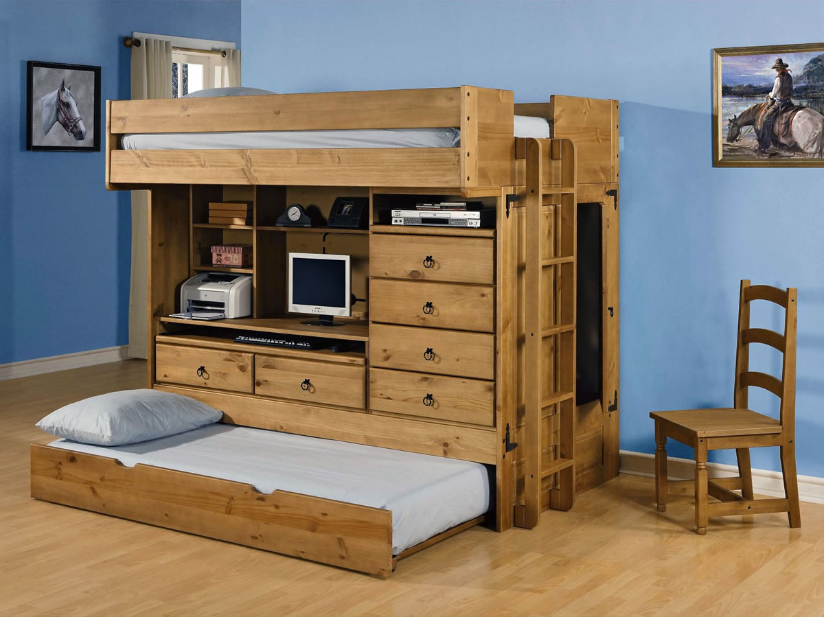 Powell rustica all in one full loft bed with storage and - All in one double bed ...