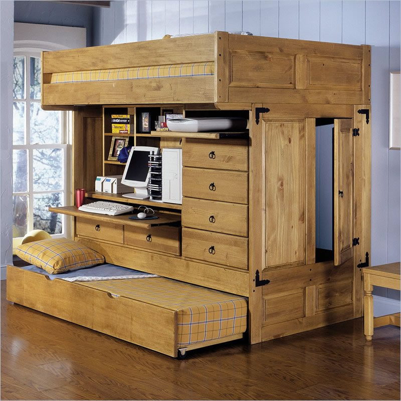 Powell rustica all in one full loft bed with storage and for Loft furniture