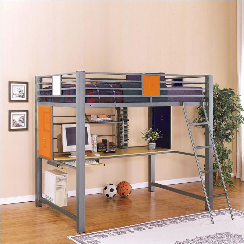 Powell Teen Trends Full Size Metal Loft Bed With Study Desk