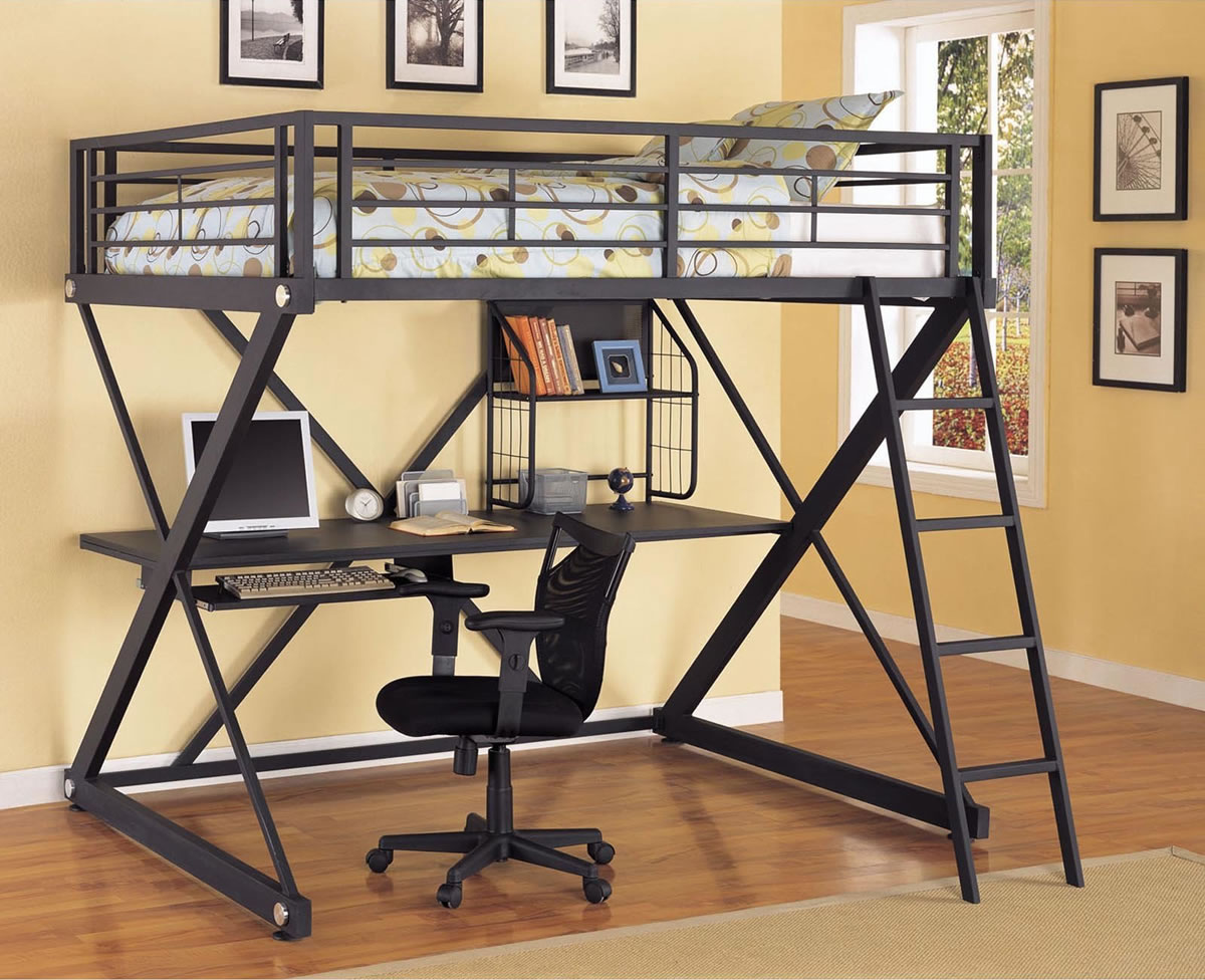 powell z bedroom full size metal loft bed with desk