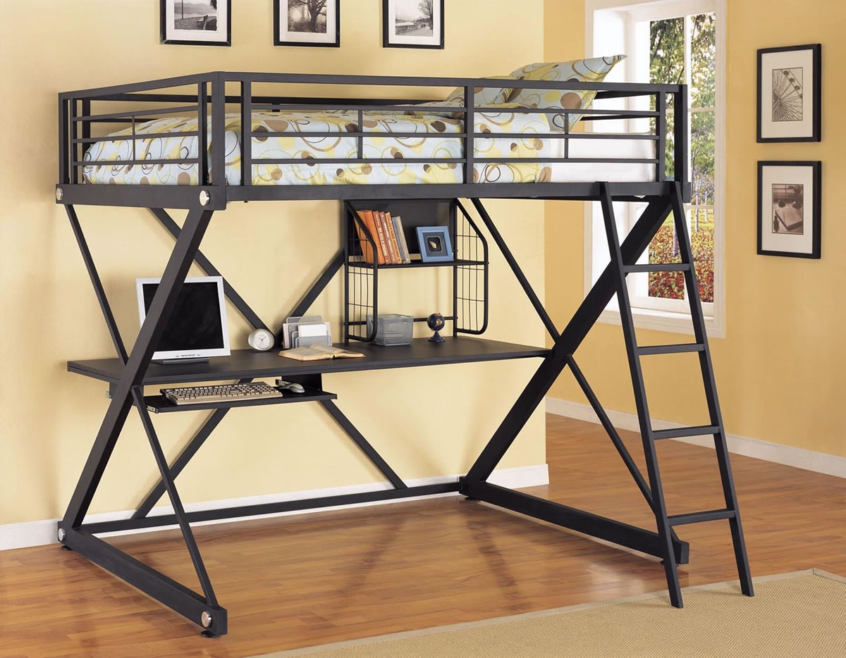 Powell Z-Bedroom Full Size Metal Loft Bed with Desk - Click to Enlarge