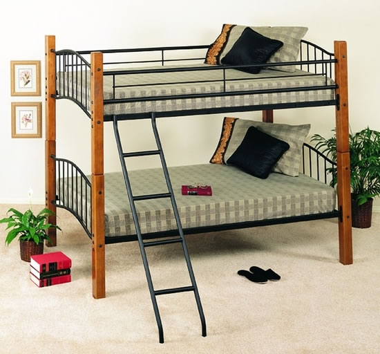 Powell White Twin Bedroom In A Box: Powell Country Pine And Matte Black Twin Over Twin Bunk Bed