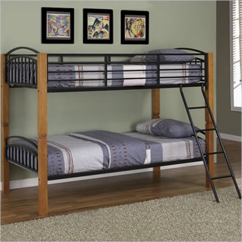 Powell Matte Black Country Twin over Twin Bunk Bed